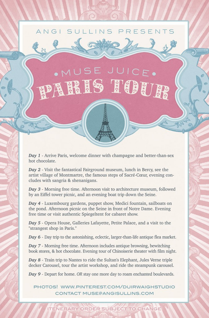 Muse Juice Tours - Paris Itenerary